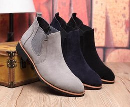 Wholesale Vintage Black Heels - new Vintage Suede Chelsea Men Leather Boots British Style Men's Ankle Boot For Autumn Winter Male Nubuck Leather Boots