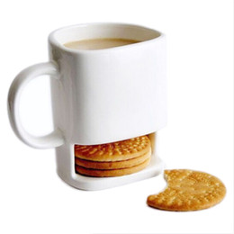 Wholesale Porcelain Home - 225ML Ceramic Mug White Coffee Tea Biscuits Milk Dessert Cup Tea Cup Side Cookie Pockets Holder For Home Office 20180103