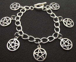 silver pentacle bracelet Coupons - Pentacle Bracelet Vintage Silver Wiccan Charm Infinity Pentagram Beads Cuff Bracelet Anklets Jewelry Women Gifts Accessories E01