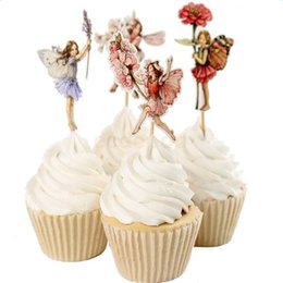 Torte doccia nuziale online-48pcs Flower Fairy Pixie Cupcake Picks Cake Topper Bridal Shower Party Decor