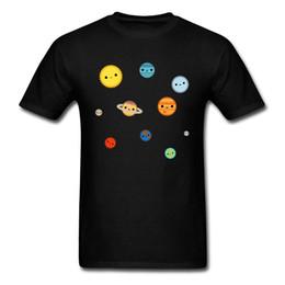 Solare stoffe online-Solar System Tees Cartoon T-shirt Männer Einfachen Stil T-shirt Schwarz T-shirt Gedruckt Baumwollgewebe Kleidung Kawaii Tops Großhandel