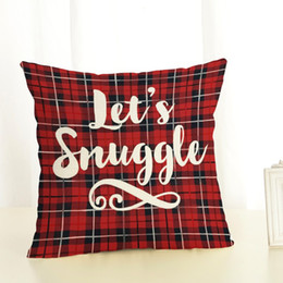 pillow for couple Promo Codes - Christmas Letter Plaid Cartoon Pattern Couple Pillow Cushion Case Linen Cotton Dining Chair Pillow Cover For Sleeping Traveling high quality