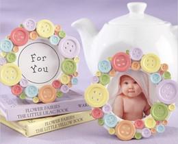 Wholesale Wholesale Photo Frames Favors - Free Shipping Baby Shower Favors Mini Lovely Button Baby Photo Frame Card Holder Wedding Favors wholesale 50pcs lot