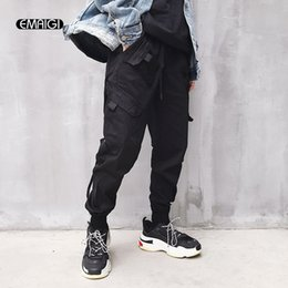 4a19a9e8e51 Men High Street Fashion Hip Hop Elastic Waist Casual Cargo Pant Women Male Loose  Harem Pant Jogger Trousers Sweatpants