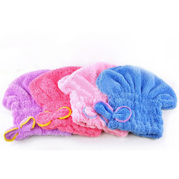 feliz caps por atacado Desconto Venda quente de alta qualidade magia da senhora de secagem rápida banho de cabelo cabeça de toalha de secagem envoltório chapéu de banho ferramenta d