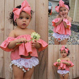 Wholesale Baby Bloomers Headbands - 2017 INS baby girl toddler 3piece set outfits off-shoulder fly sleeve Tops Shirts Vest + Tassels Lace Shorts Pants Bloomers + Bow headband
