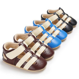 Wholesale baby boy strap sandals - 3 colors Baby boys pu sandals protects toes infants cute solid color first walkers hollowed out prewalkers toddlers summer shoes B11