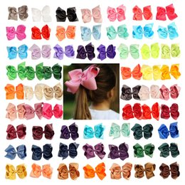 "Wholesale Grosgrain Ribbon Boutique - 61 Pcs lot 6"" Hair Bow Fashion Handmade Solid Grosgrain Ribbon Hair Clip for Kids Girls Toddler Boutique Hair Accessories"