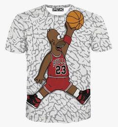 Wholesale Cartoon Character Tshirt - Hot sell tshirt Men's cartoon t-shirt Hip hop t shirt 3d print funny character play basketball tshirt o-neck summer tops tees casual shirts