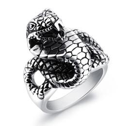 316 L acier inoxydable argent Femmes//Hommes Fashion Serpent Crâne Bagues Taille 8-12