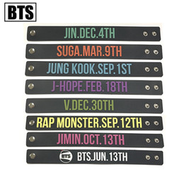 KPOP BTS товары Bangtan мальчиков браслет Jungkook Jimin Suga V рэп V день рождения браслет для мужчин и женщин от Поставщики музыка черных ангелов