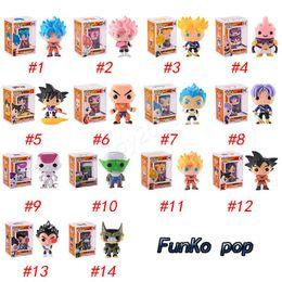 funko pops poupées Promotion FUNKO POP Dragon Ball Z Fils Goku Vegeta Piccolo Cellule PVC Action Figure Collection Modèle détail figurines action poupée surprise pour enfants jouets