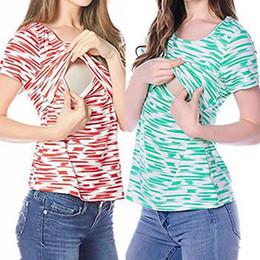 b6740a34df011 Fashion Maternity Striped T-shirt Nursing Tops Women Breastfeeding Tank  Patchwork Summer Short Sleeve T-shirt