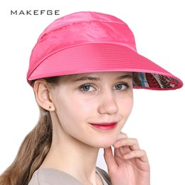 87dfeb41ab0 2018 NEW Hat summer women s sun-shading dual hat anti-uv large brim sun  beach cap strawhat visor free shopping