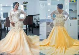 Wholesale Celebrity Dresses Bling - Bling Beaded Crystal Mermaid Evening Dresses Long Sleeve African Arabia Vestidos De Festa Party Dress Prom Formal Pageant Celebrity Gowns