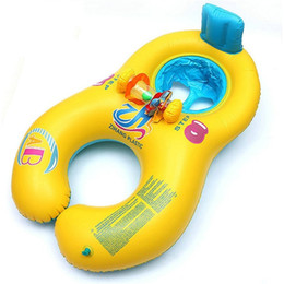 Wholesale neck float wholesale - Inflatable Baby Swimming Neck Ring Mother And Child Swimming Circle Double Swimming Rings Pool Floating Seat Ring 17 99hr X