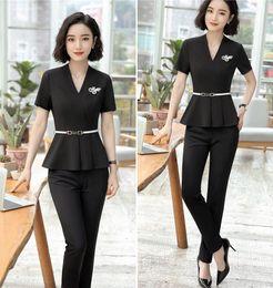 Wholesale Business Women Formal Suits - Blazer Jacket+ Long Pant Summer Short Sleeve Suit Set Hotel Work Clothes Formal Uniform Female Business Elegant Brazer trousers Suits
