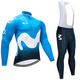 Wholesale Long Bicycle - 2018 Movistar Pro Cycling Jersey Long Sleeve Spring Autumn maillot bicycle sportwear cycle Clothing mtb bike cycling jacket 9D pad