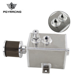 Wholesale Breather Catch Tank - PQY RACING - 2L Aluminum oil catch can tank with breather & drain tap 2LT baffled PQY9492