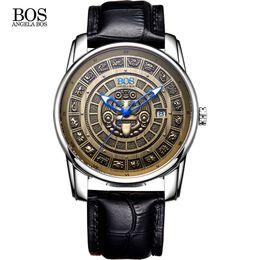 e47e8848984 ANGELA BOS Retro Estereoscópico Maya Calendário Mostrador de Aço Inoxidável  Relógio Automático Mens Mecânica Luminosa de Luxo Da Marca de Relógio Homens  ...