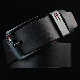 Faja negra de moda online-Hombres calientes Cinturones Negro Pin Hebilla Moda Jeans Cinturón Cinturón de alta calidad Hombres populares Cinturón de cuero Diseñador de la marca Cinturones de cuero real Cinturón