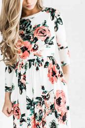 Wholesale Three Floor Fashion - 2018 Summer Boho Beach Dress Fashion Floral Printed Women Long Dress Three Quarter sleeve Loose Maxi Dress Vestivos