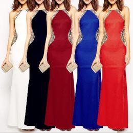 Wholesale Card Clubs - 5 Colors Lady Sexy Evening Dress Women Halter Flash Card Panelled Split Slim Floor-length Long Party Club Dress CCA8916 10pcs