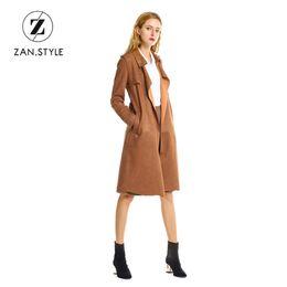 Wholesale Women S Down Coat Belt - ZAN.STYLE Autumn Winter Solid Suede Women Long trench coat turn down collar Full sleeve Belt Slim trench open stitch Pocket coat