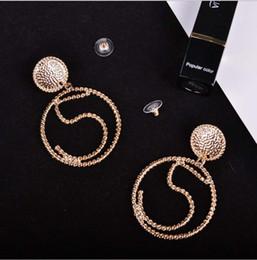 Wholesale Earring Ear Drop - Fashion Exaggerated CC No 5 Earrings For Women luxurious Tassel Drop Dangle Jewelry Earrings Ear Clip Charm Ear Clip-on & Screw Back