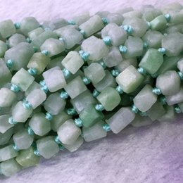 """Wholesale Jade Faceted 8mm - Natural Genuine Raw Mineral China Green Jadeite Jade Hand Cut Nugget Free Form Loose Rough Matte Faceted Beads 6-8mm 15.5"""" 05372"""