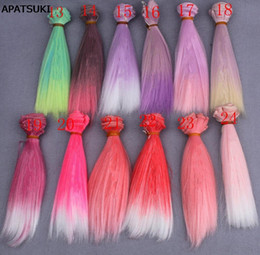 Wholesale Long Red Purple Wigs - 15*100cm Gradient Color DIY Wig High Temperature Wire Long Straight Hair For BJD Dolls DIY Pink Red Rose Green Purple