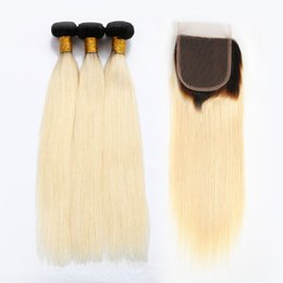 Wholesale Ombre Virgin Hair Extensions - Virgin Brazilian Hair Bundles Ombre Blonde Human Hair Weaves With Lace Closure Straight Body Wave Human Hair Extensions
