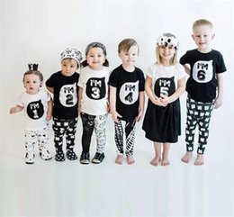 Wholesale Cartoon Babies Numbers - New Baby Boys girls INS I'M number T-shirts Children ins cotton Cartoon Short sleeve T-shirts kids clothes 1-6T Free Shipping A08