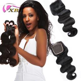 2019 fechar estilos de cabelo Cabelo brasileiro xbl 3 pacotes com fechamento dentro de todo o estilo de cabelo humano diferente e 4by4 fechamento superior do laço fechar estilos de cabelo barato