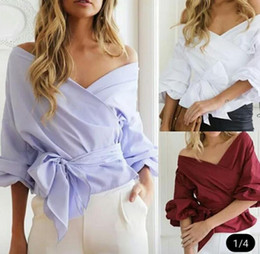 top boats Promo Codes - Sexy Women Off Shoulder Blouse Shirt Summer Casual Flare Sleeve Tops Long Sleeve Short Clothing Boat Neck Blouse Shirt