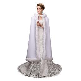 Ropa de época online-Top Venta de 120 cm de longitud Vestido de época gótica georgiana Ropa de lana blanca de invierno
