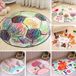 Wholesale Football Room Designs - Round Carpets Cartoon Kids Bedroom Mats Football Animal Printed Carpets Polyester Floor blanket Independence Day Home Decor 33 Designs YW571