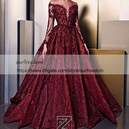 Wholesale Lace Neck Peplum Dress - Ziad Nakad 2018 Sheer Jewel Neck Evening Dresses With Long Sleeve Illusion Bodice Lace Appliques Occasion Dresses Girls Pageant Gown
