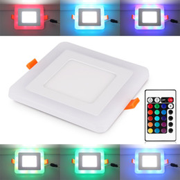 Discount led square panels rgb - Ultra Slim 6W 9W 18W 24W Square Concealed Dual Color LED Panel Light Cool White+Blue Red Pink RGB Lamp Downlight AC100-265V