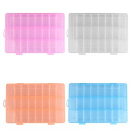 Wholesale Plastic Boxes For Earrings - Cheap storage 4 Colors 24 Grid Plastic Jewelry Plastic Storage Box for Beads Earring Case Display Organizer