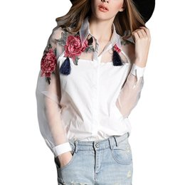 Wholesale Sheer Chiffon Blouse Wholesale - Wholesale- 2017 Summer Fashion Women Flower Embroider Blouses Vintage Shirt Women Sheer Organza Sleeve Tops Plus Size S-3XL Blusas