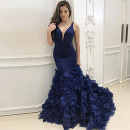 Wholesale Gold Fishtail Prom Dresses - 2018 Sexy Charming Mermaid Prom Dresses Formal Party Gown Deep V Neck Organza Fishtail Evening Gowns Cheap Sweep Train