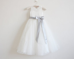 Argentina Vestido de niña de las flores Niña princesa Grey Sash Falda de encaje Baby Dama de honor para la boda formal Ocasión Wish Sash Princess Bow Brithday supplier bridesmaid dresses grey flower Suministro