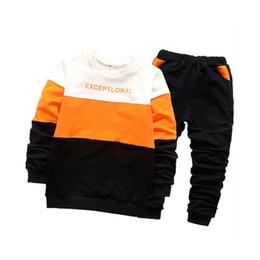 Wholesale Kids Leather Pants - 2018 Boys Clothing Set Tracksuits For Boys Cotton Letter Print T-Shirt+Pants 2pcs Children Costume Casual Kids Sport Suits 4-12y