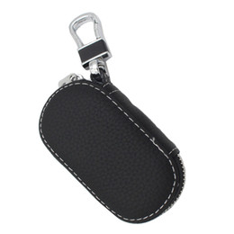 Wholesale Toyota Car Keys Cover - Car key Cases Top Layer Leather Bag holder Men Woman keychain Covers car key bag for bme e39 lada toyota benz Buick Vw