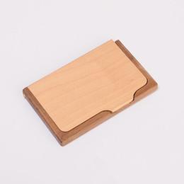Canada Haute qualité en bois titulaire de la carte concise style cartes de crédit boîte de rangement de bureau fournitures de bureau affaires d'affaires cadeau 14js ff Offre