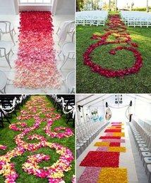 2019 bolsas de alfombra al por mayor Poliéster Flor de la boda Pétalos de rosa para la decoración de la boda Decoración del corredor del pasillo Accesorios de alfombras