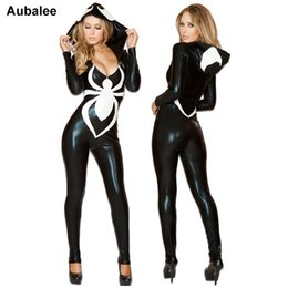 2019 venom traje preto de aranha Sexy 2018 Spiderman Macacão New Black Halloween Costume Para As Mulheres Senhoras Aranha Venom Sexy Faux Leather Catsuit Capuz Disfraz Mujer S920 desconto venom traje preto de aranha