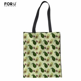 Wholesale Wholesale Messenger Bags For Women - FORUDESIGNS Tote Shoulder Bags for Female Casual 3D Avocado Printed Women's Casual Handbags Woman Cotton Messenger Clothes Bags