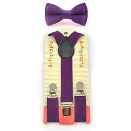 """Pajarita morada oscura online-Corbata de moño Conjunto de tirantes elásticos Tirantes en forma de Y Conjuntos de mariposas Moda Niños Niños Niños Niñas """"Morado oscuro"""" Patrón 22 Color"""
